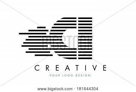 Ci C I Zebra Letter Logo Design With Black And White Stripes