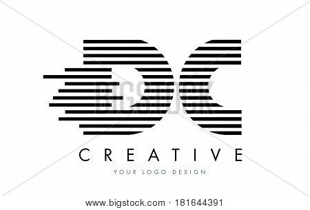 Dc D C Zebra Letter Logo Design With Black And White Stripes