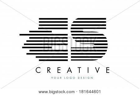 Es E S Zebra Letter Logo Design With Black And White Stripes