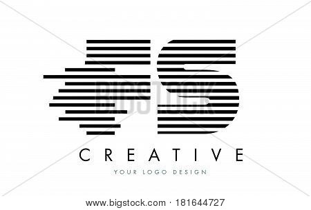 Fs F S Zebra Letter Logo Design With Black And White Stripes