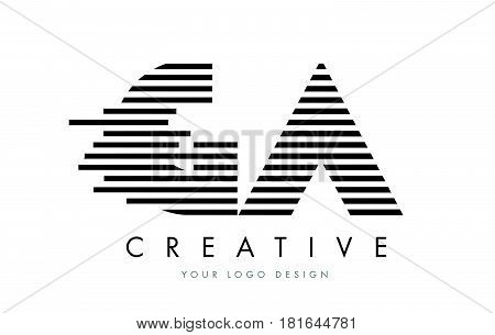 Ga G A Zebra Letter Logo Design With Black And White Stripes