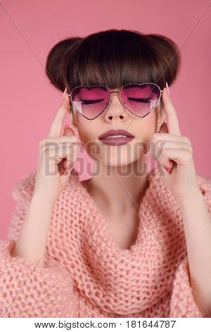 Beauty Fashion Teen Girl Model In Heart Sunglasses. Portrait Of Brunette With Matte Lips Makeup And