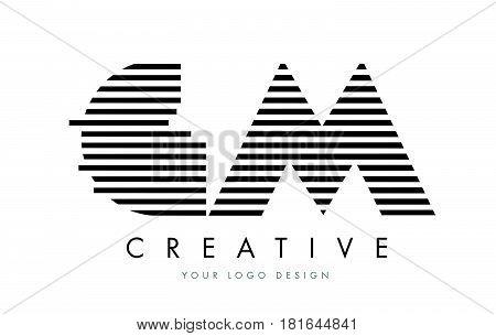 Gm G M Zebra Letter Logo Design With Black And White Stripes