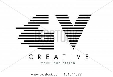 Gv G V Zebra Letter Logo Design With Black And White Stripes