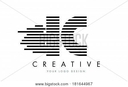 Ic I C Zebra Letter Logo Design With Black And White Stripes