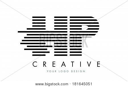 Hp H P Zebra Letter Logo Design With Black And White Stripes