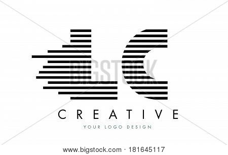 Lc L C Zebra Letter Logo Design With Black And White Stripes