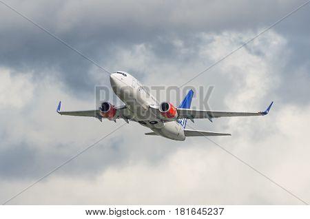 Boeing 737 Sas Airlines, Airport Pulkovo, Russia Saint-petersburg August 2016