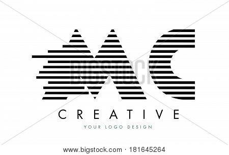Mc M C Zebra Letter Logo Design With Black And White Stripes