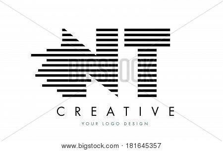 Nt N T Zebra Letter Logo Design With Black And White Stripes