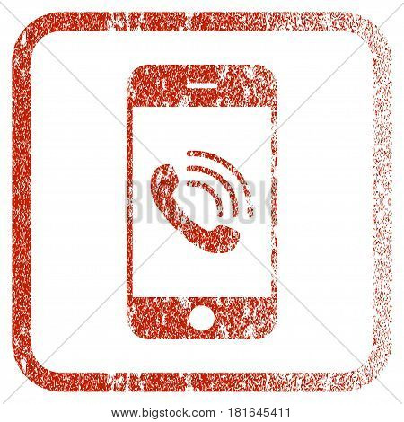Smartphone Call textured icon for overlay watermark stamps. Red vectorized texture. Flat red vector symbol with unclean design inside rounded square frame. Framed rubber seal stamp imitation.