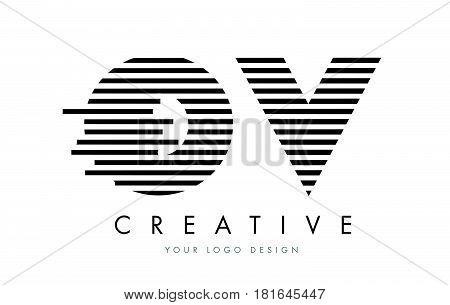 Ov O V Zebra Letter Logo Design With Black And White Stripes