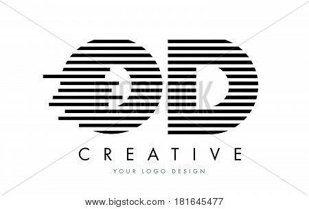 Od O D Zebra Letter Logo Design With Black And White Stripes
