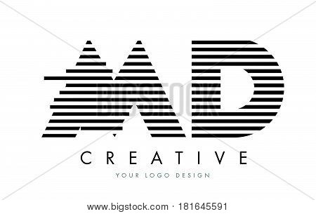Md M D Zebra Letter Logo Design With Black And White Stripes
