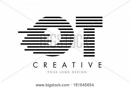 Ot O T Zebra Letter Logo Design With Black And White Stripes