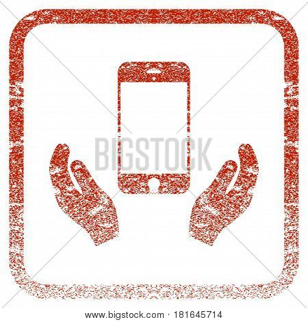 Smartphone Care Hands textured icon for overlay watermark stamps. Red vectorized texture. Flat red vector symbol with unclean design inside rounded square frame. Framed rubber seal stamp imitation.
