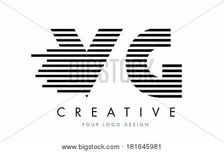 Vg V G Zebra Letter Logo Design With Black And White Stripes