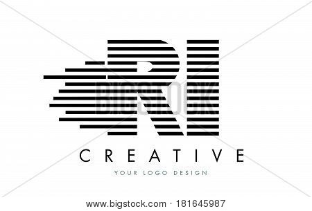 Ri R I Zebra Letter Logo Design With Black And White Stripes