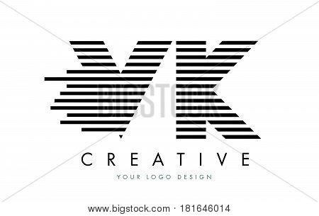 Vk V K Zebra Letter Logo Design With Black And White Stripes