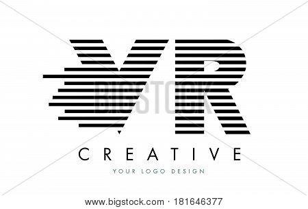 Vr V R Zebra Letter Logo Design With Black And White Stripes