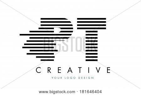 Pt P T Zebra Letter Logo Design With Black And White Stripes