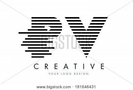 Pv P V Zebra Letter Logo Design With Black And White Stripes