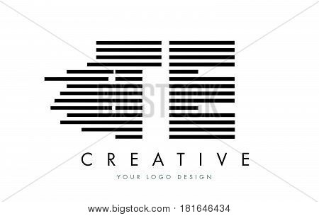 Te T E Zebra Letter Logo Design With Black And White Stripes