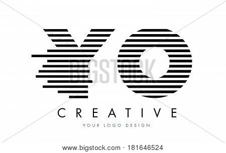 Yo Y O Zebra Letter Logo Design With Black And White Stripes