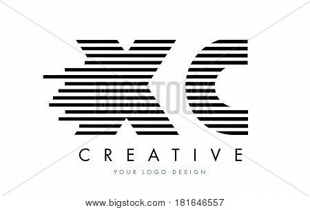 Xc X C Zebra Letter Logo Design With Black And White Stripes