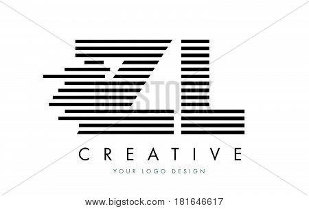 Zl Z L Zebra Letter Logo Design With Black And White Stripes