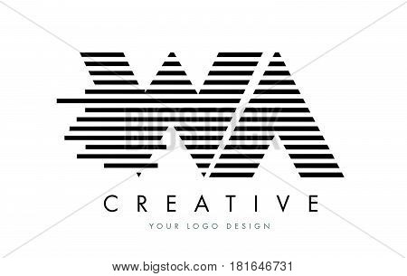 Wa W A Zebra Letter Logo Design With Black And White Stripes