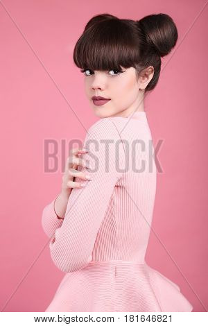 Teen Beauty. Hairstyle. Fashion Teenage Girl Model. Happy Smiling Brunette With Matte Lips And Funny