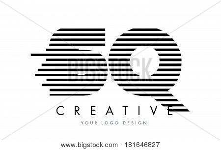 Sq S Q Zebra Letter Logo Design With Black And White Stripes