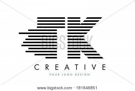 Tk T K Zebra Letter Logo Design With Black And White Stripes
