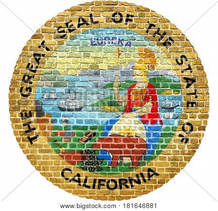 California Republic Seal US flag painted on old vintage brick wall