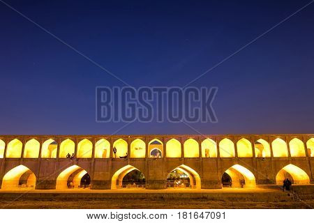 Si-o-seh pol or Allahverdi Khan Bridge or The bridge of thirty-three spans in Isfahan Iran and the longest bridge on the Zayandeh River