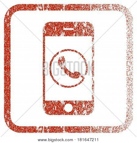 Smartphone Phone textured icon for overlay watermark stamps. Red vectorized texture. Flat red vector symbol with unclean design inside rounded square frame. Framed rubber seal stamp imitation.