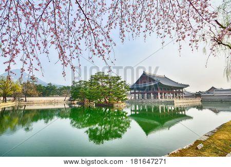 Spring In Gyeongbokgung Palace In Seoul, South Korea.