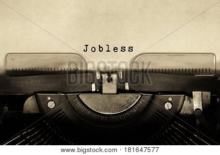 Jobless typed on vintage typewriter retro style