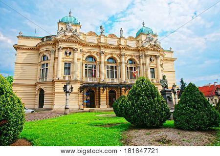 Krakow Poland - May 1 2014: Juliusz Slowacki Theater in Krakow Poland