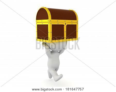 3D Character running with treasure chest held above him. Image depicting how one finds a treasure