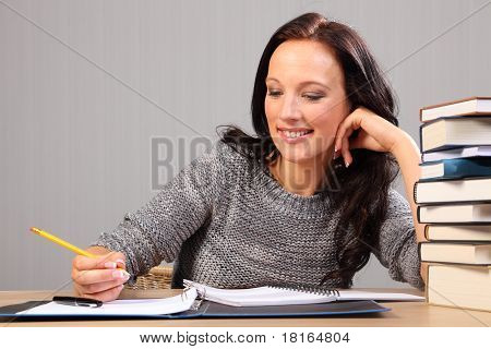 Happy Smile Doing Homework For Beautiful Woman