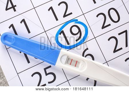 Pregnancy test and marked date on calendar