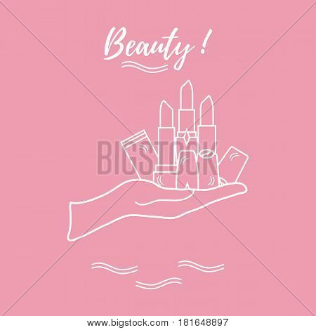 Vector Illustration With Hand Holding Out A Various Tubes Of  Lipstick.