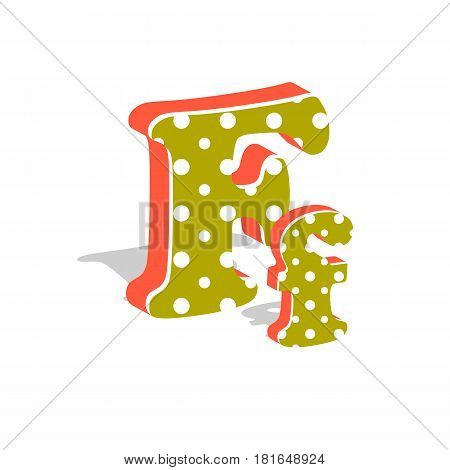 Capital and numeric cute dotted 3d letter F isolated on white background. Vector illustration. Element for design. Kids alphabet.