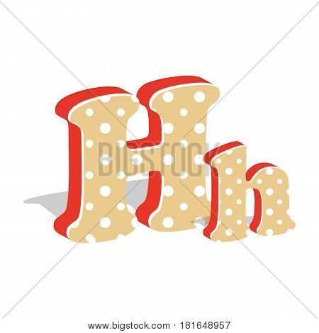 Capital and numeric cute dotted 3d letter H isolated on white background. Vector illustration. Element for design. Kids alphabet.