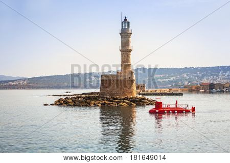 Lighthouse in old harbour of Chania on Crete, Greece