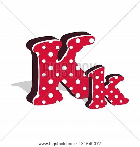 Capital and numeric cute dotted 3d letter K isolated on white background. Vector illustration. Element for design. Kids alphabet.