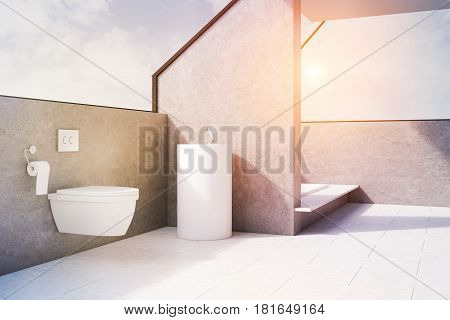 Gray Bathroom With Toilet, Side, Toned