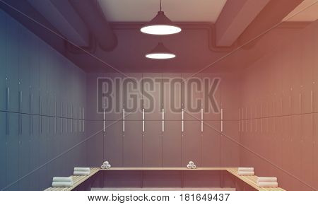 Gray Locker Room Interior, Toned